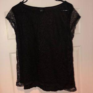 Ladies Black Sheer Lace Top